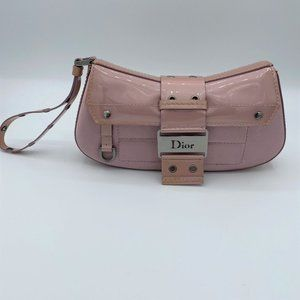 CHRISTIAN DIOR Pink Silk Patent Leather Wristlet
